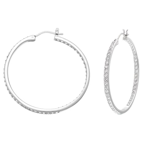 Sommerset Hoop Pierced Earrings, White, Rhodium plated - Swarovski, 5528457