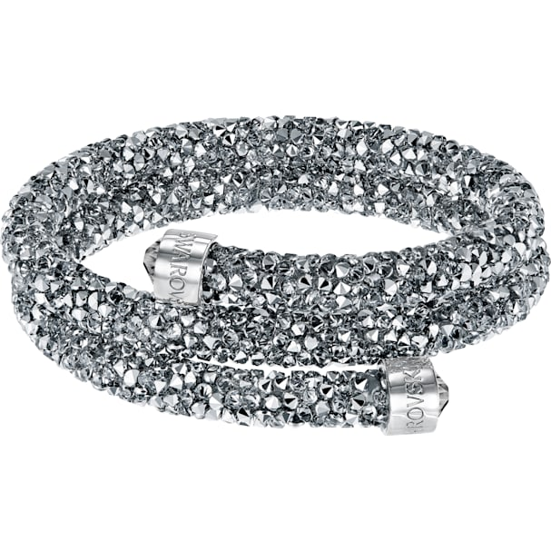a85ee5d77bae3 Crystaldust Double Bangle, Gray, Stainless steel