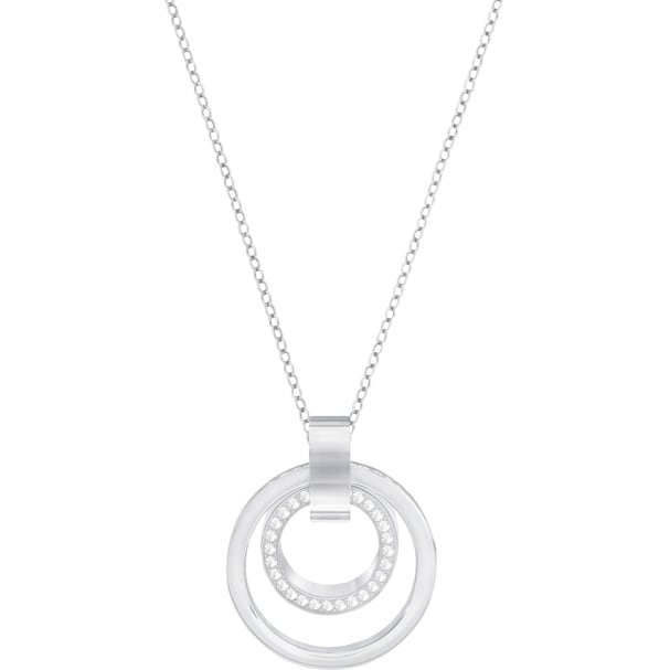 d2951382040be Hollow Pendant, White, Rhodium plated