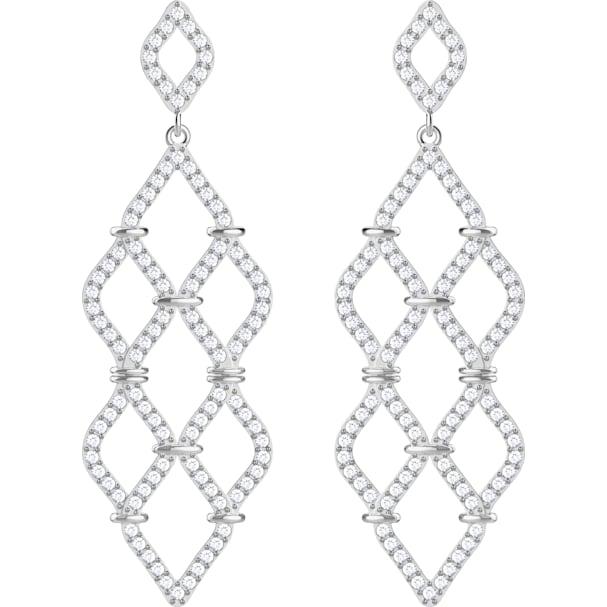 74ad01540e00 Pendientes chandelier Lace, blanco, Baño de Rodio