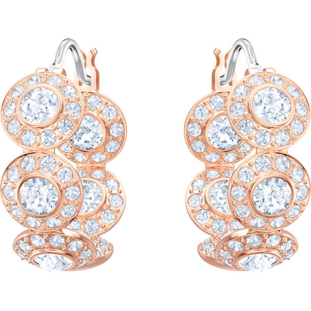 Angelic Hoop Pierced Earrings White Rose Gold Tone Plated