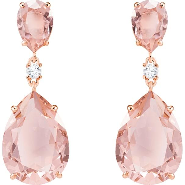Vintage Drop Pierced Earrings Pink Rose Gold Tone Plated