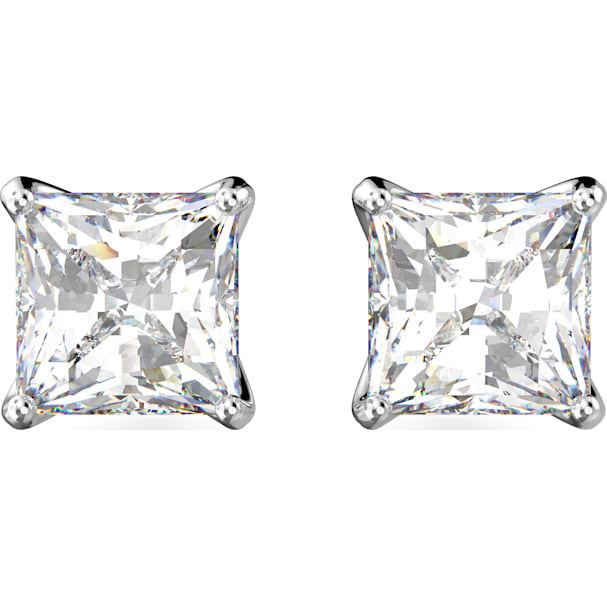 0401bdabf Attract Stud Pierced Earrings, White, Rhodium plated - Swarovski, 5430365