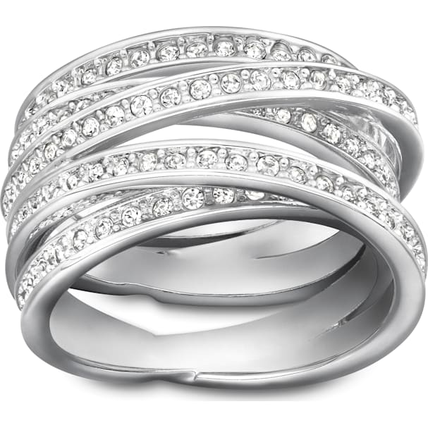 26a3d5309272f Spiral Ring, White, Rhodium plating