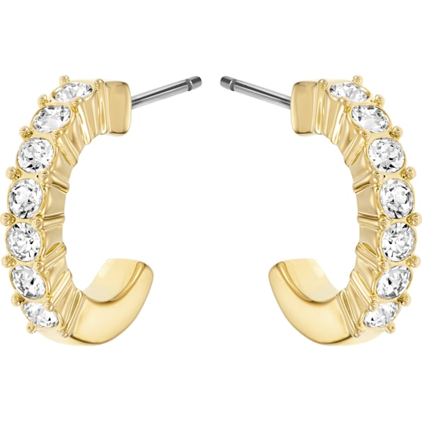 01abb943e3202 Mini Hoop Pierced Earrings, White, Gold-tone plated