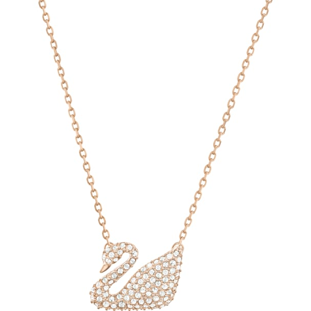 c2a944671c2c2 Swan Necklace, White, Rose-gold tone plated