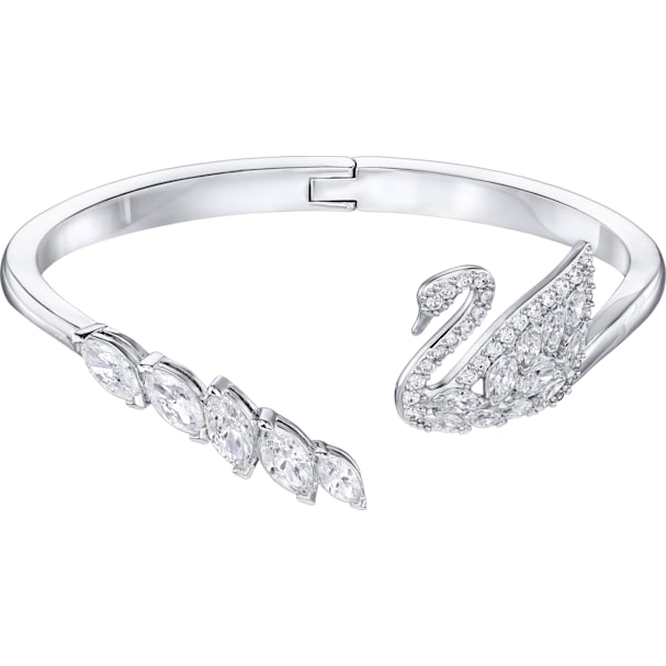83bc3eedc4941 Swan Lake Bangle, White, Rhodium plated