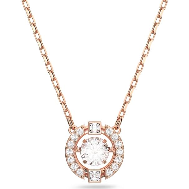 e8160c91f54ab Swarovski Sparkling Dance Round Necklace, White, Rose-gold tone plated