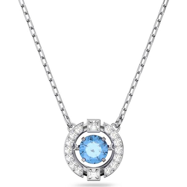 ae435aeb32414 Swarovski Sparkling Dance Round Necklace, Blue, Rhodium plated