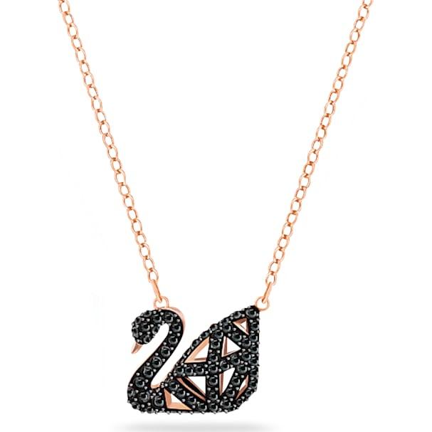 18962dfa84023 Facet Swan Necklace, Black, Mixed metal finish