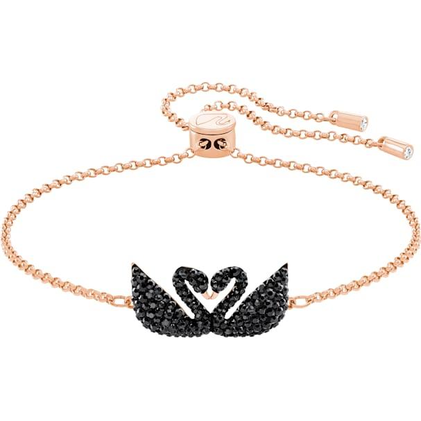 04ee348601633 Swarovski Iconic Swan Bracelet, Black, Rose-gold tone plated