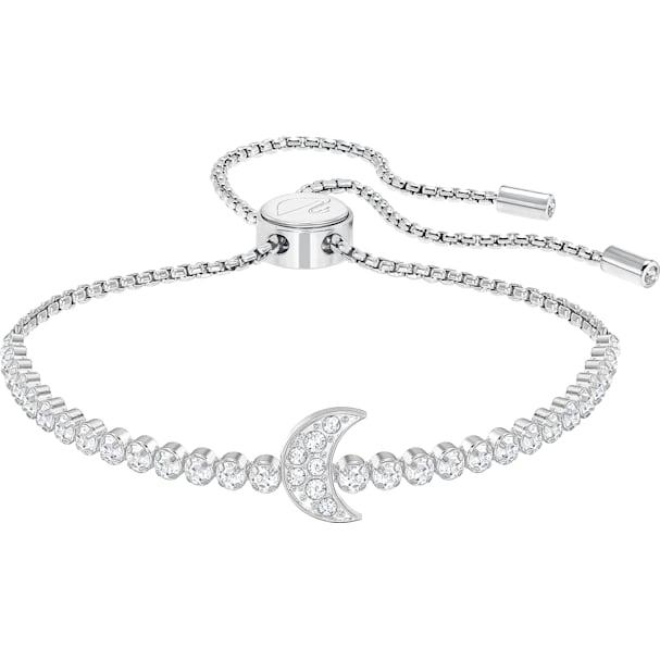 60bb122a27fe3 Subtle Moon Bracelet, White, Rhodium plated