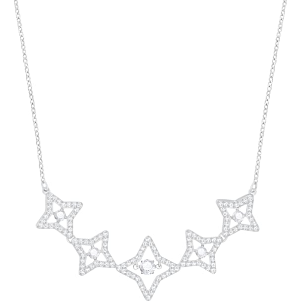 69387db40eeab Sparkling Dance Star Necklace, Medium, White, Rhodium plating