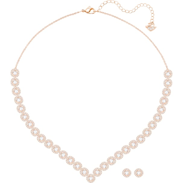 cd558a365cce0 Angelic Square Set, Large, White, Rose-gold tone plated