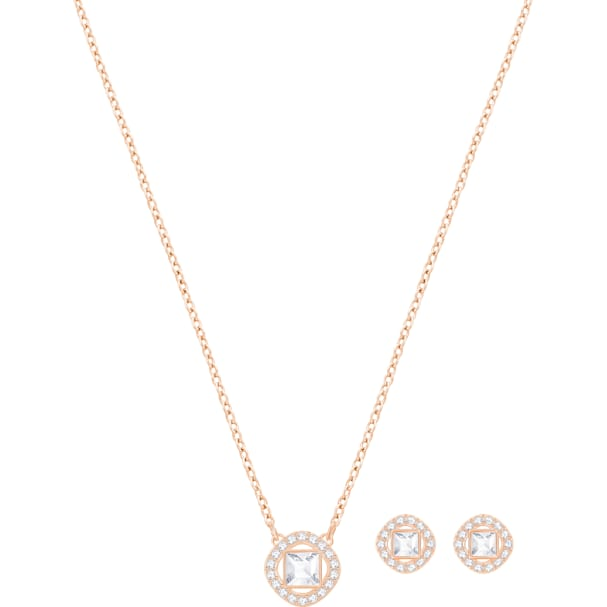 dca96bcf1bf0a Angelic Square Set, White, Rose-gold tone plated