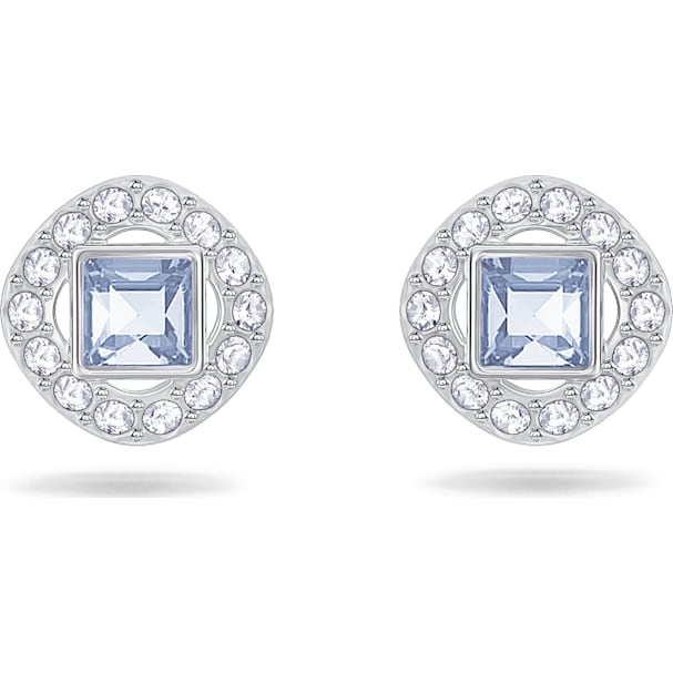 Angelic Square Pierced Earrings Blue Rhodium Plated