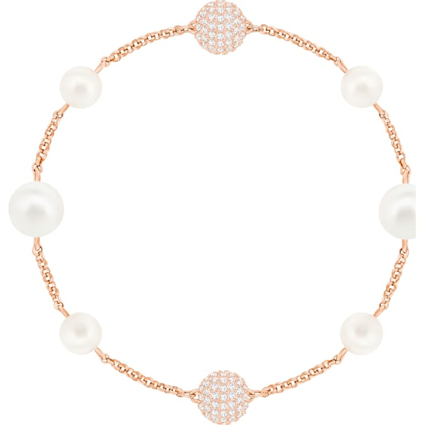 bbb54a7f47003 Swarovski Remix Collection Round Pearl Strand, White, Rose-gold tone plated