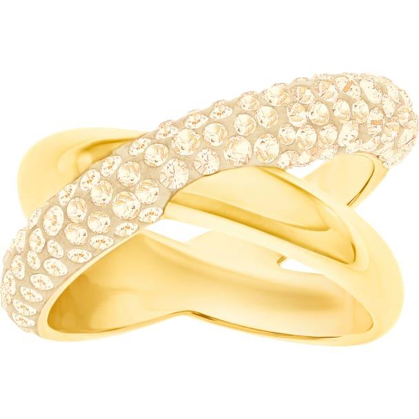 227d0251b7061 Crystaldust Cross Ring, Golden, Gold-tone plated