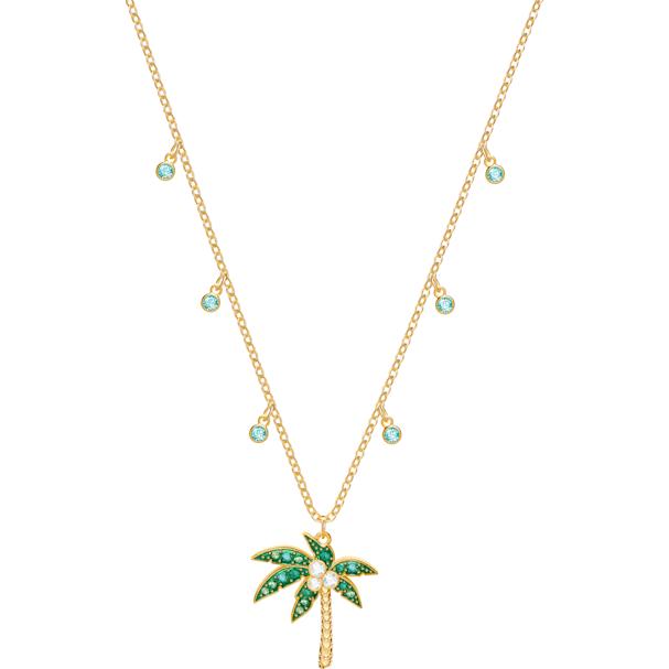 de449bd65e531 Lime Palm Tree Necklace, Multi-colored, Gold plating