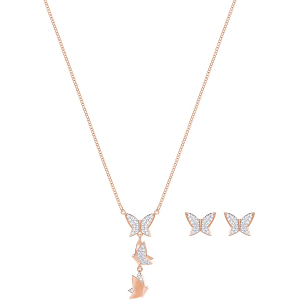 a3de7d516bd35 Lilia Set, White, Rose-gold tone plated