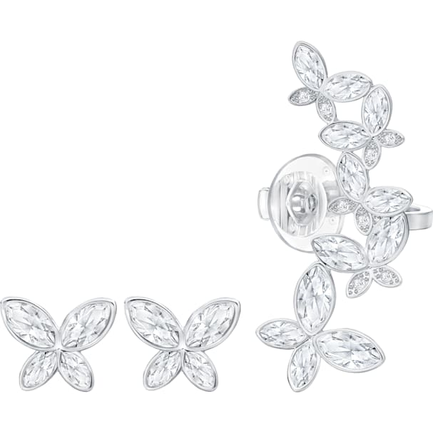 58f24491e3df7 Fiancé Butterfly Ear Cuff, White, Rhodium plating