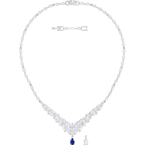 f03af061e2fd9 Louison Necklace, White, Rhodium plated