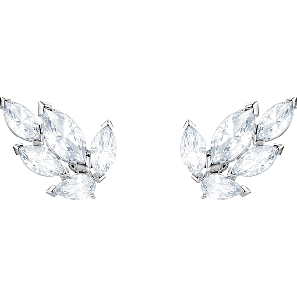 162df07c0e835 Louison Stud Pierced Earrings, White, Rhodium plated