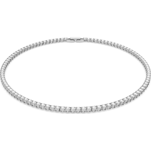 Tennis Deluxe Necklace, White, Rhodium Plated by Swarovski