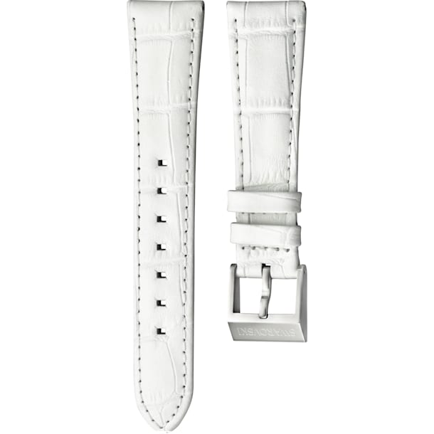 18mm Watch strap, Leather with stitching, White, Stainless Steel - Swarovski, 5222593