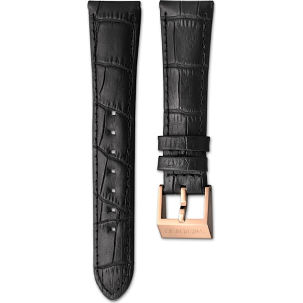 18mm Watch strap, Leather with stitching, Black, Rose-gold tone plated - Swarovski, 5222596