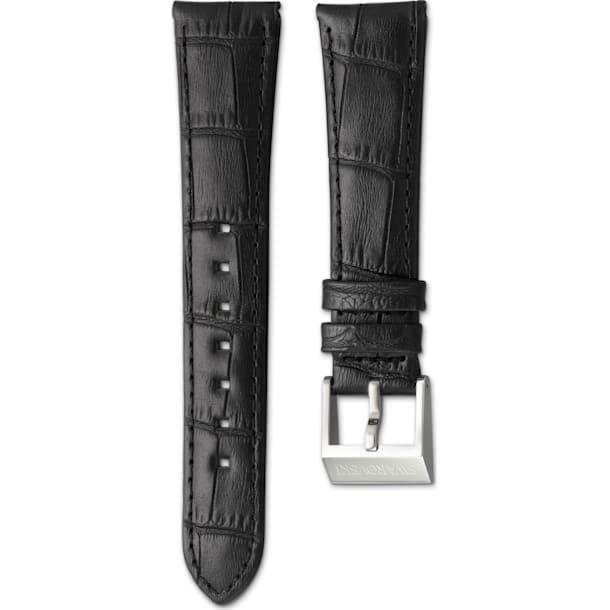 14mm Watch strap, Leather with stitching, dark brown, Stainless steel - Swarovski, 5263534