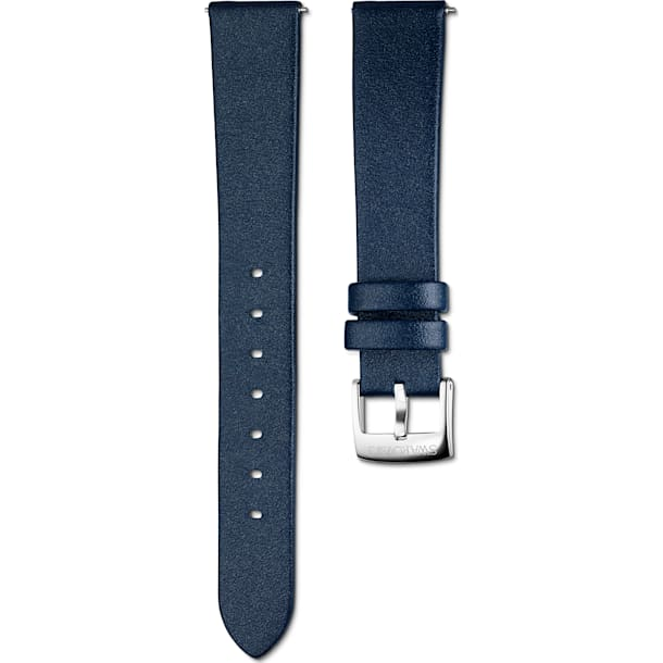 16mm Watch strap, Leather, Blue, Stainless Steel - Swarovski, 5302283
