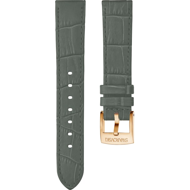 20mm Watch strap, Leather with stitching, Gray, Rose-gold tone plated - Swarovski, 5371983