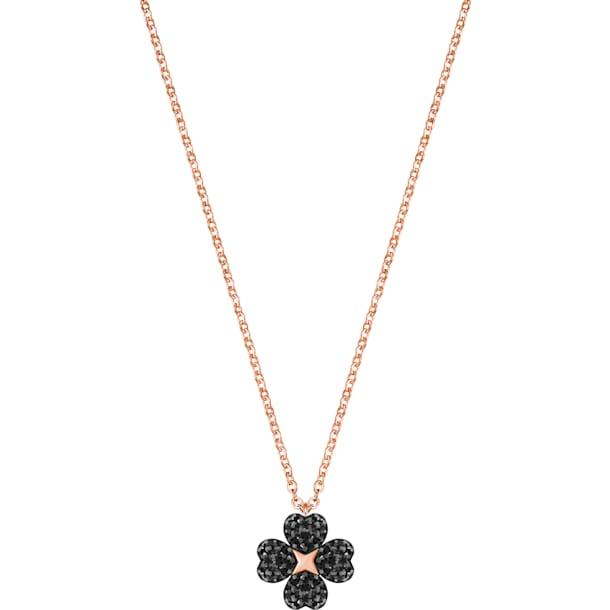 Colgante Latisha Flower, negro, Baño en tono Oro Rosa - Swarovski, 5444354