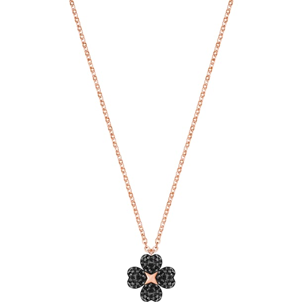 Latisha Flower Pendant, Black, Rose-gold tone plated - Swarovski, 5444354