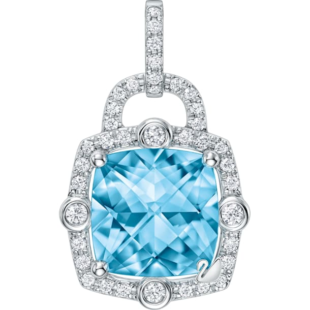 18K WG Love Lock Cushion Pendant (IceBl) - Swarovski, 5468516