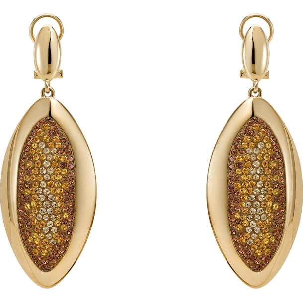 Evil Eye Drop Clip Earrings, Small, Brown, Gold-tone plated - Swarovski, 5511784