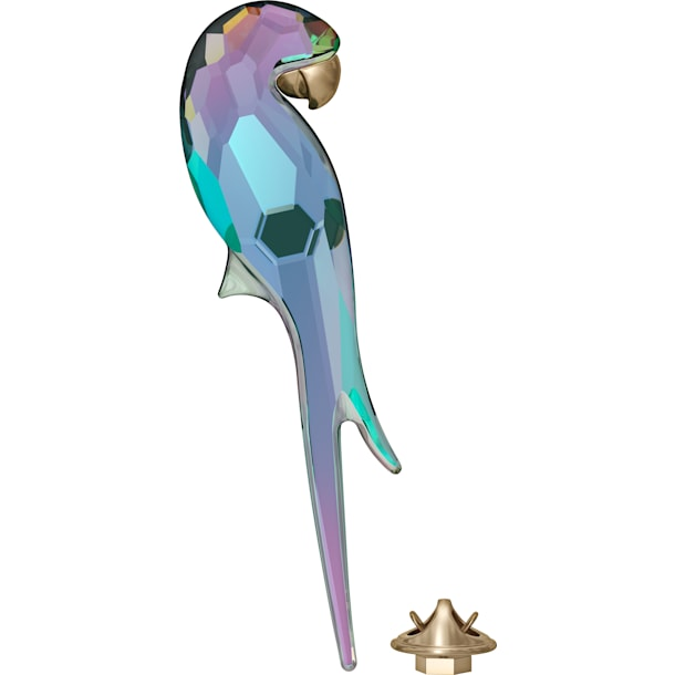 Jungle Beats Parrot Magnet, Shiny Green, Large - Swarovski, 5572152