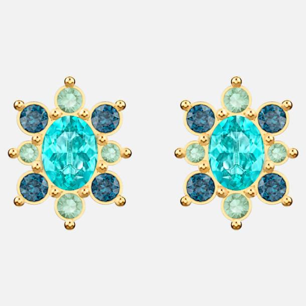 스와로브스키 럭키 가디스 귀걸이 - 터키 블루 (선미 착용) Swarovski Lucky Goddess Pierced Earrings, Multi-colored, Gold-tone plated