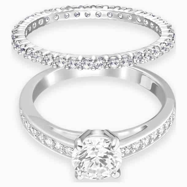 스와로브스키 어트랙트 반지 Swarovski Attract Ring Set, White, Rhodium plated