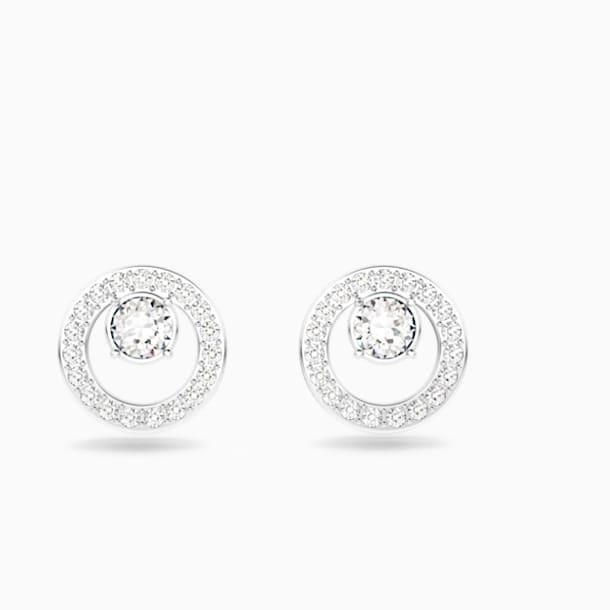 스와로브스키 귀걸이 Swarovski Creativity Circle Pierced Earrings, White, Rhodium plated