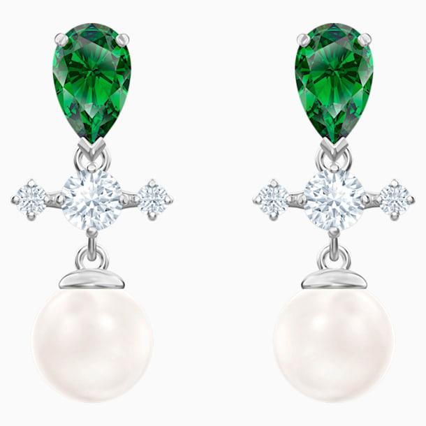 스와로브스키 귀걸이 Swarovski Perfection Drop Pierced Earrings, Green, Rhodium plated
