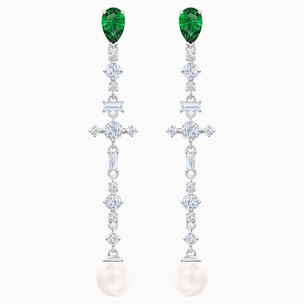 스와로브스키 귀걸이 Swarovski Perfection Pierced Earrings, Green, Rhodium plated