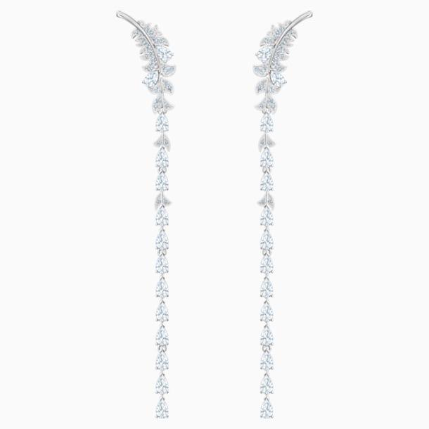 스와로브스키 귀걸이 Swarovski Nice Pierced Earrings, White, Rhodium plated