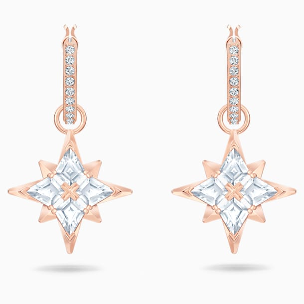스와로브스키 별 귀걸이 Swarovski Symbolic Star Hoop Pierced Earrings, White, Rose-gold tone plated