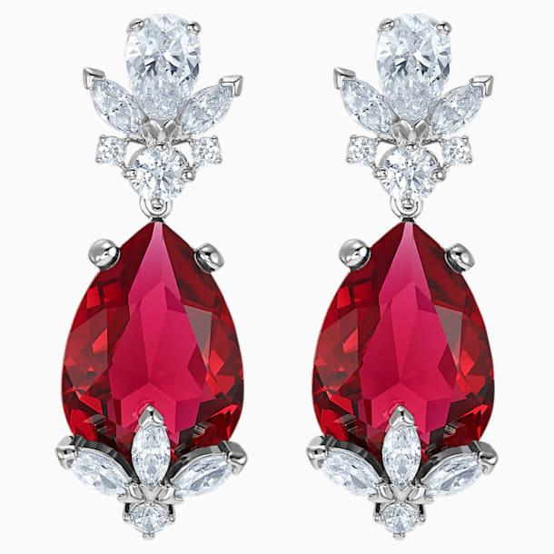 스와로브스키 귀걸이 Swarovski Louison Drop Pierced Earrings, Red, Rhodium plated
