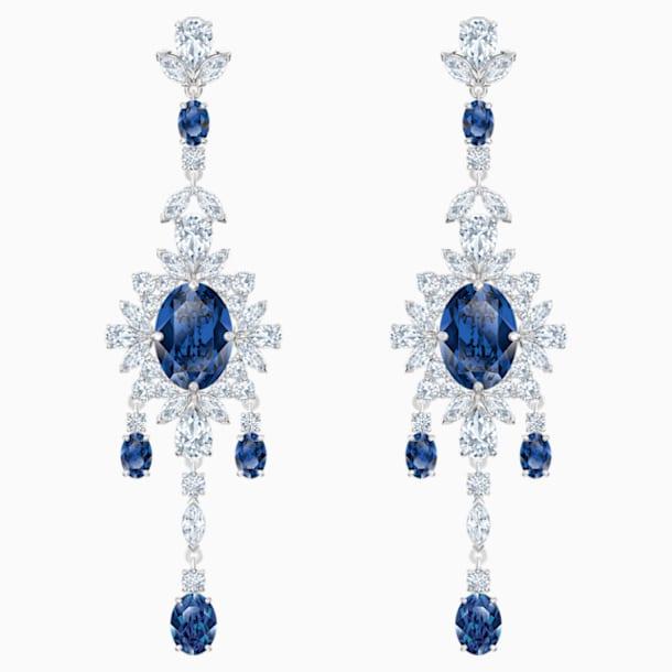 스와로브스키 귀걸이 Swarovski Palace Chandelier Pierced Earrings, Blue, Rhodium plated