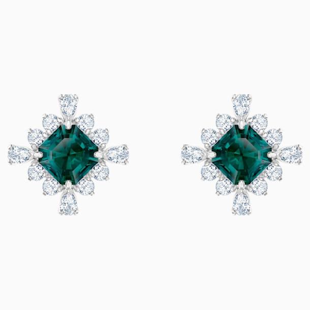 스와로브스키 귀걸이 Swarovski Palace Stud Pierced Earrings, Green, Rhodium plated