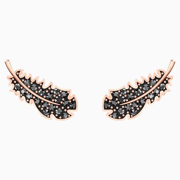 스와로브스키 귀걸이 Swarovski Naughty Pierced Earrings, Black, Rose-gold tone plated
