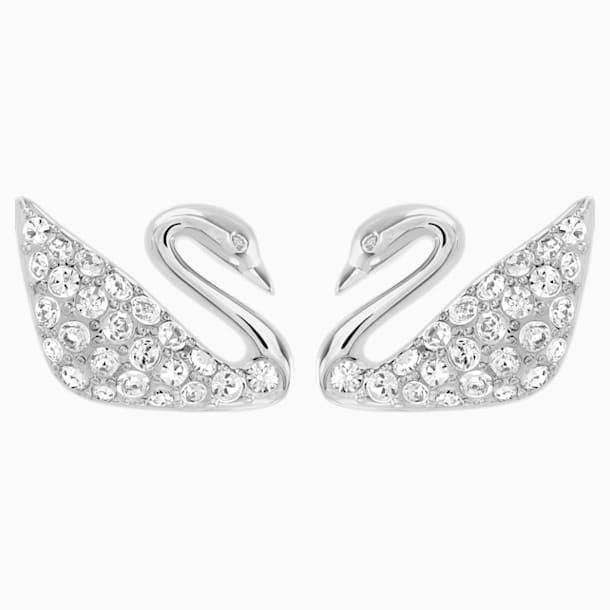 Swan Pierced Earrings, White, Rhodium Plating - Swarovski, 1116357